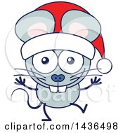 Clipart Of A Cartoon Christmas Mouse Wearing A Santa Hat Royalty Free Vector Illustration