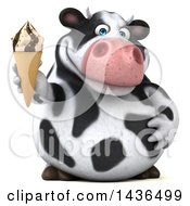 Clipart Of A 3d Holstein Cow Character Holding A Waffle Ice Cream Cone On A White Background Royalty Free Illustration by Julos