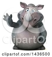 Clipart Of A 3d Reggie Rhinoceros Mascot Waving On A White Background Royalty Free Illustration by Julos
