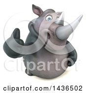 Clipart Of A 3d Reggie Rhinoceros Mascot Giving A Thumb Up On A White Background Royalty Free Illustration