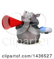 3d Reggie Rhinoceros Mascot Holding A Pill On A White Background