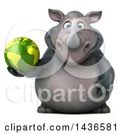 3d Reggie Rhinoceros Mascot Holding An Earth Globe On A White Background