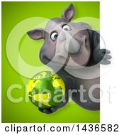 Clipart Of A 3d Reggie Rhinoceros Mascot Holding An Earth Globe Royalty Free Illustration