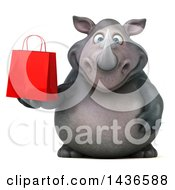 Clipart Of A 3d Reggie Rhinoceros Mascot Holding A Shopping Or Gift Bag On A White Background Royalty Free Illustration