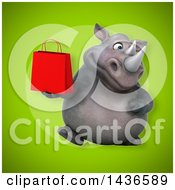 Clipart Of A 3d Reggie Rhinoceros Mascot Holding A Shopping Or Gift Bag Royalty Free Illustration