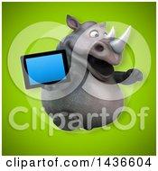 3d Reggie Rhinoceros Mascot Holding A Tablet Computer