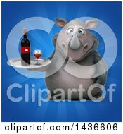 Clipart Of A 3d Reggie Rhinoceros Mascot Holding A Wine Tray Royalty Free Illustration by Julos