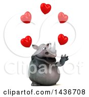 Clipart Of A 3d Reggie Rhinoceros Mascot Juggling Hearts On A White Background Royalty Free Illustration