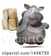 3d Reggie Rhinoceros Mascot Holding Boxes On A White Background