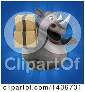 3d Reggie Rhinoceros Mascot Holding Boxes
