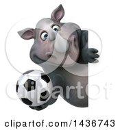 3d Reggie Rhinoceros Mascot Holding A Soccer Ball On A White Background