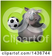 3d Reggie Rhinoceros Mascot Holding A Soccer Ball