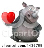 Poster, Art Print Of 3d Reggie Rhinoceros Mascot Holding A Love Heart On A White Background