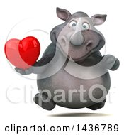 Clipart Of A 3d Reggie Rhinoceros Mascot Holding A Love Heart On A White Background Royalty Free Illustration