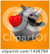 Clipart Of A 3d Reggie Rhinoceros Mascot Holding A Love Heart Royalty Free Illustration