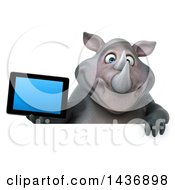 3d Reggie Rhinoceros Mascot Holding A Tablet Computer On A White Background