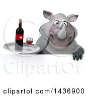 Clipart Of A 3d Reggie Rhinoceros Mascot Holding A Wine Tray On A White Background Royalty Free Illustration by Julos