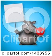 Clipart Of A 3d Reggie Rhinoceros Mascot Holding A Devil Head Royalty Free Illustration