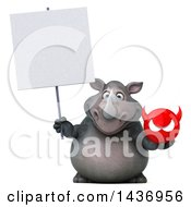 Clipart Of A 3d Reggie Rhinoceros Mascot Holding A Devil Head On A White Background Royalty Free Illustration