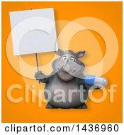 3d Reggie Rhinoceros Mascot Holding A Pill