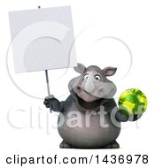Clipart Of A 3d Reggie Rhinoceros Mascot Holding An Earth Globe On A White Background Royalty Free Illustration