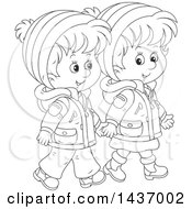 Clipart Of A Cartoon Black And White Lineart Happy Boy And Girl Holding Hands And Taking A Winter Walk Royalty Free Vector Illustration