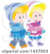 Clipart Of A Cartoon Happy Caucasian Boy And Girl Holding Hands And Taking A Winter Walk Royalty Free Vector Illustration