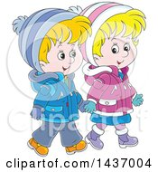 Cartoon Happy White Boy And Girl Holding Hands And Taking A Winter Walk