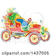Antique Christmas Car With A Santa Sack And Gifts