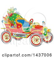 Clipart Of A Cartoon Vintage Antique Christmas Car With A Santa Sack And Gifts Royalty Free Vector Illustration by Alex Bannykh