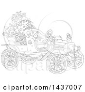 Black And White Lineart Antique Christmas Car With A Santa Sack And Gifts