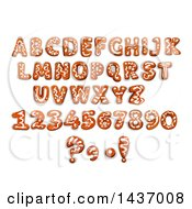 Clipart Of Christmas Gingerbread Cookie Capital Letters And Numbers Royalty Free Vector Illustration