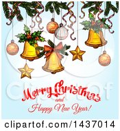 Merry Christmas And Happy New Year Greeting Design