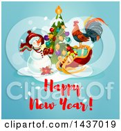 Clipart Of A Happy New Year Greeting Design Royalty Free Vector Illustration by Vector Tradition SM