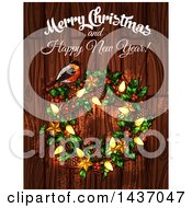 Clipart Of A Merry Christmas And Happy New Year Greeting Design Royalty Free Vector Illustration by Vector Tradition SM