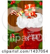 Stocking With Best Wishes Merry X Mas Text