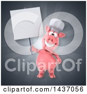 Clipart Of A 3d Chef Pig Royalty Free Illustration