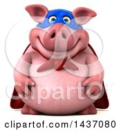 Clipart Of A 3d Super Hero Chubby Pig On A White Background Royalty Free Illustration