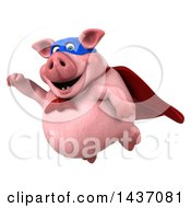 Clipart Of A 3d Super Hero Chubby Pig On A White Background Royalty Free Illustration by Julos