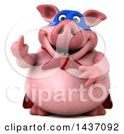 3d Super Hero Chubby Pig On A White Background