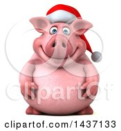 Clipart Of A 3d Chubby Christmas Pig On A White Background Royalty Free Illustration by Julos
