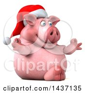 Clipart Of A 3d Chubby Christmas Pig Meditating On A White Background Royalty Free Illustration