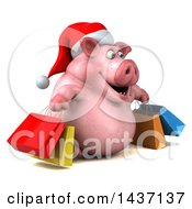 3d Chubby Christmas Pig Shopping On A White Background