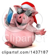 3d Chubby Christmas Pig On A White Background