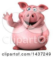 Clipart Of A 3d Chubby Pig Waving On A White Background Royalty Free Illustration by Julos