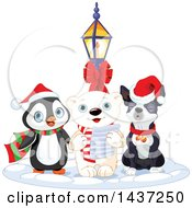 Clipart Of A Polar Bear Singing Christmas Carols In The Snow With A Penguin And Boson Terrier Royalty Free Vector Illustration