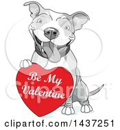 Clipart Of A Cute Happy Grayscale Pit Bull Dog Resting A Paw On A Red Be My Valentine Heart Royalty Free Vector Illustration