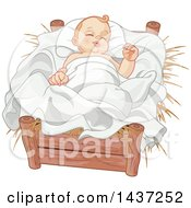 Clipart Of A Nativity Baby Jesus In A Crib Royalty Free Vector Illustration by Pushkin
