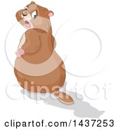 Clipart Of A Groundhog Looking Back In Horror At His Shadow Royalty Free Vector Illustration