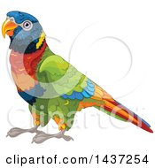Clipart Of A Cute Rainbow Lorikeet Bird Royalty Free Vector Illustration by Pushkin